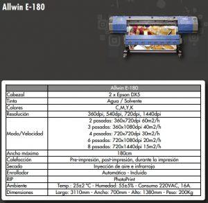 FICHA TECNICA Allwin E-180 - Equipo de impresión tinta Ecosolvente o Sublimación