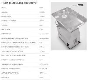 FICHA TECNICA MOLEDORA