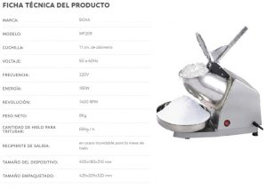 FICHA TECNICA Raspadillera y Moledora de Hielo 65kgh VF209 BOXA