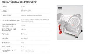 FICHA TECNICA cortador de embutidos fiambre modelo DCS-8314-220B1