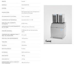 FICHA TECNICA maquina para hacer hielo en escama EGE-600M everest