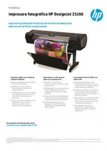 FICHA TECNICA IMPRESORA HP Designjet Z5200 44-in Photo Printer